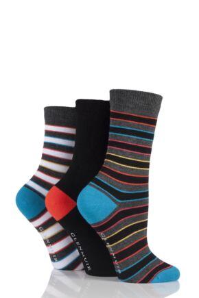Ladies 3 Pair Glenmuir Dual Stripe and Plain Bamboo Socks Charcoal 4-8 Ladies