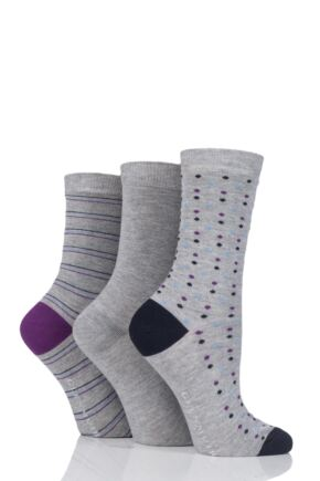Ladies 3 Pair Glenmuir Fine Striped and Dot Bamboo Socks