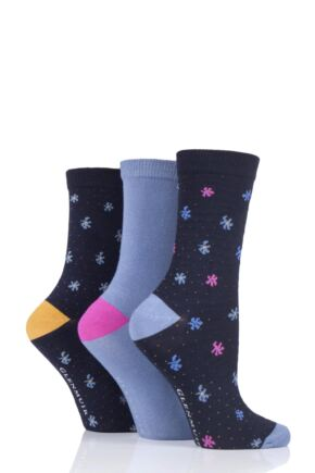 Ladies 3 Pair Glenmuir Floral Bamboo Socks