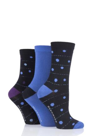 Ladies 3 Pair Glenmuir Dots Bamboo Socks