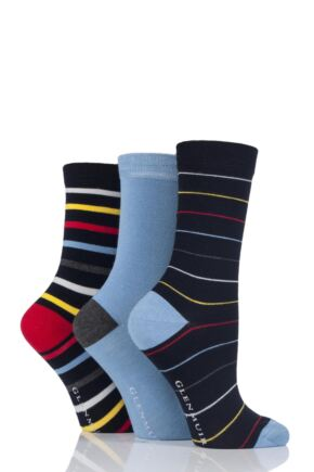 Ladies 3 Pair Glenmuir Bright Striped and Plain Bamboo Socks