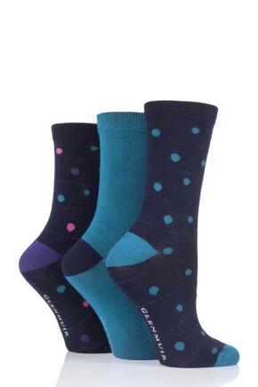 Ladies 3 Pair Glenmuir Dots Bamboo Socks