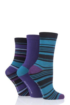 Ladies 3 Pair Glenmuir Stripes Bamboo Socks Black 4-8 Ladies