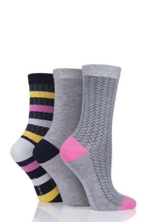 Ladies 3 Pair Glenmuir Texture and Stripe Bamboo Socks
