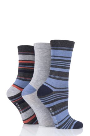 Ladies 3 Pair Glenmuir Stripes Bamboo Socks