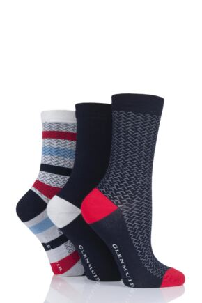Ladies 3 Pair Glenmuir Texture and Stripe Bamboo Socks