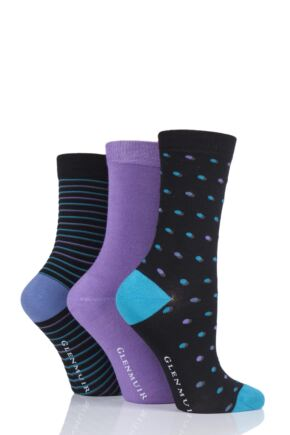 Ladies 3 Pair Glenmuir Dots and Stripes Bamboo Socks