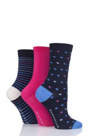 Ladies 3 Pair Glenmuir Dots and Stripes Bamboo Socks