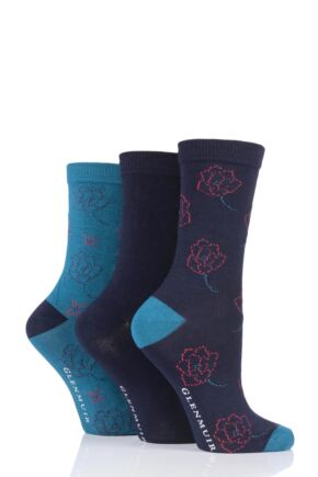 Ladies 3 Pair Glenmuir Flowers Bamboo Socks