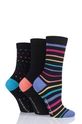 Ladies 3 Pair Glenmuir Multi Stripe and Dot Bamboo Socks