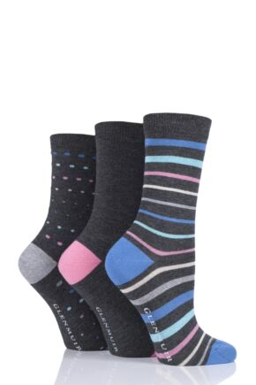 Ladies 3 Pair Glenmuir Multi Stripe and Dot Bamboo Socks