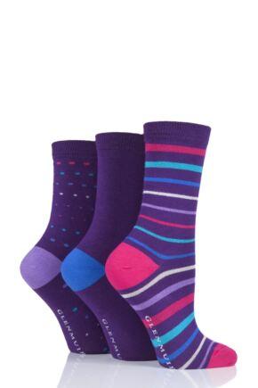 Ladies 3 Pair Glenmuir Multi Stripe and Dot Bamboo Socks Purple 4-8 Ladies