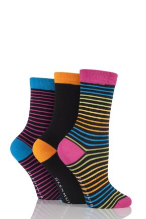 Ladies 3 Pair Glenmuir Narrow Striped and Plain Bamboo Socks Black 4-8