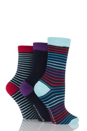 Ladies 3 Pair Glenmuir Narrow Striped and Plain Bamboo Socks