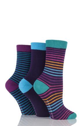 Ladies 3 Pair Glenmuir Narrow Striped and Plain Bamboo Socks Purple 4-8