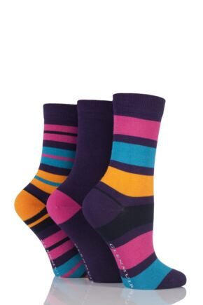 Ladies 3 Pair Glenmuir Mixed Striped and Plain Bamboo Socks Purple 4-8