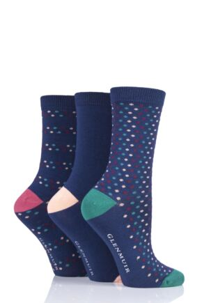Ladies 3 Pair Glenmuir Dot Stripe Bamboo Socks