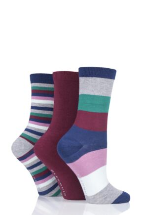 Ladies 3 Pair Glenmuir Broad Stripe Bamboo Socks