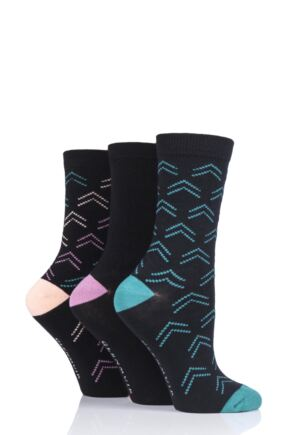 Ladies 3 Pair Glenmuir Arrows Bamboo Socks