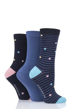 Ladies 3 Pair Glenmuir Spots Bamboo Socks