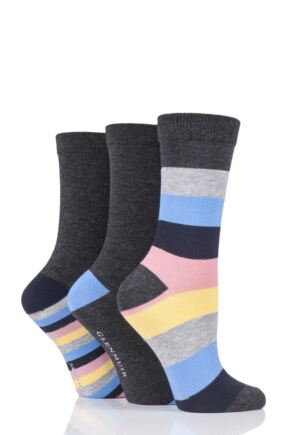 Ladies 3 Pair Glenmuir Mixed Stripe Bamboo Socks