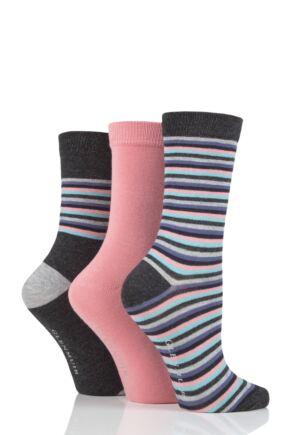 Ladies 3 Pair Glenmuir Multi Stripe Bamboo Socks