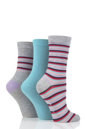 Ladies 3 Pair Glenmuir Multi Stripe Bamboo Socks
