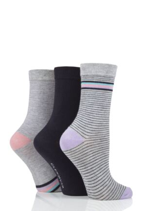 Ladies 3 Pair Glenmuir Lines Bamboo Socks