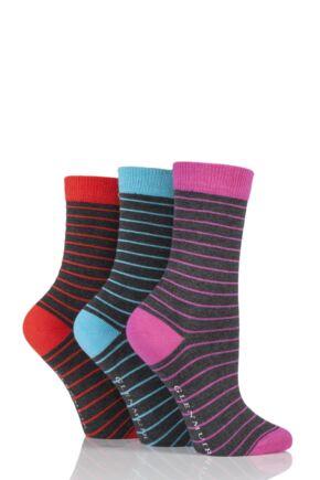 Ladies 3 Pair Glenmuir Fine Stripe Bamboo Socks Charcoal