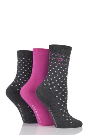 Ladies 3 Pair Glenmuir Fairisle Dot and Plain Bamboo Socks