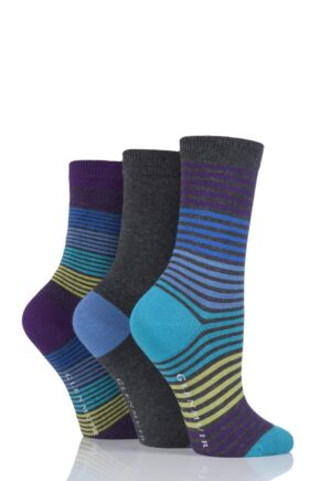 Ladies 3 Pair Glenmuir Fine Stripe and Plain Bamboo Socks Charcoal 4-8 Ladies