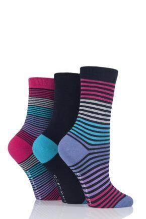 Ladies 3 Pair Glenmuir Fine Stripe and Plain Bamboo Socks