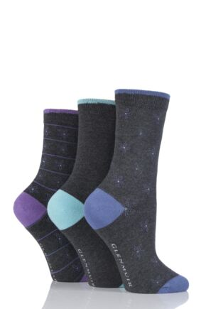 Ladies 3 Pair Glenmuir Flowers and Plain Bamboo Socks Charcoal 4-8 Ladies