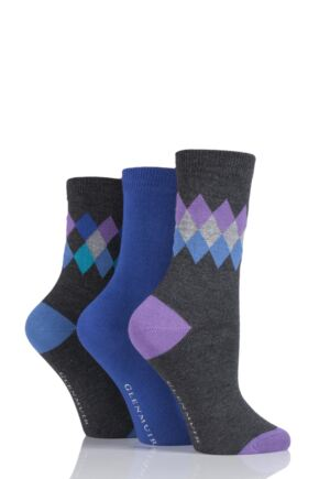 Ladies 3 Pair Glenmuir Diamond and Plain Bamboo Socks Charcoal 4-8