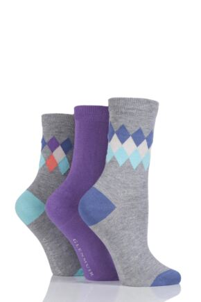 Ladies 3 Pair Glenmuir Diamond and Plain Bamboo Socks Grey 4-8
