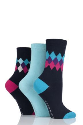 Ladies 3 Pair Glenmuir Diamond and Plain Bamboo Socks