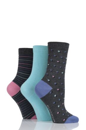 Ladies 3 Pair Glenmuir Dot, Stripe and Plain Bamboo Socks Charcoal 4-8