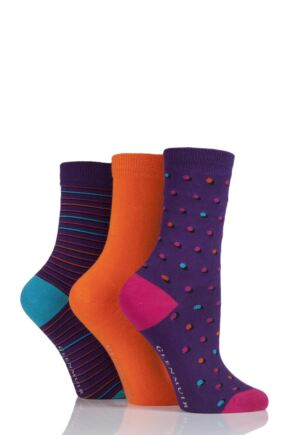Ladies 3 Pair Glenmuir Dot, Stripe and Plain Bamboo Socks Purple 4-8