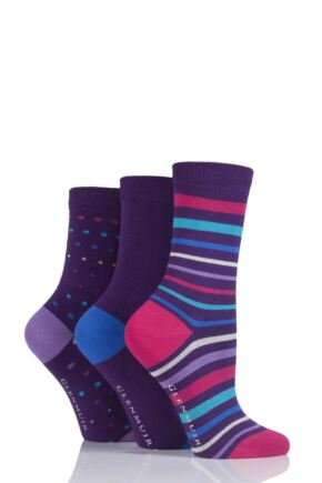 Ladies 3 Pair Glenmuir Bright Stripe, Dot and Plain Bamboo Socks Purple 4-8