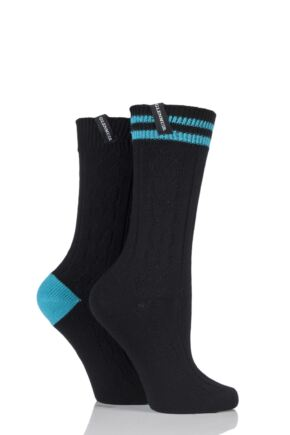 Ladies 2 Pair Glenmuir Cable Knit Cotton Blend Leisure Socks