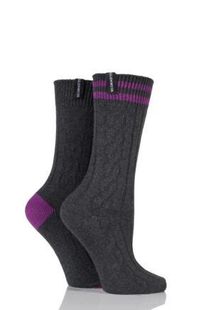 Ladies 2 Pair Glenmuir Cable Knit Cotton Blend Leisure Socks Charcoal