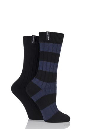 Ladies 2 Pair Glenmuir Block Stripe and Plain Cotton Blend Leisure Socks