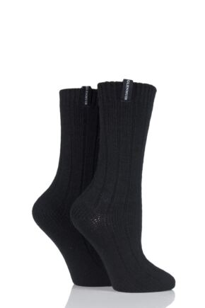 Ladies 2 Pair Glenmuir Classic Plain Ribbed Wool Blend Boot Socks