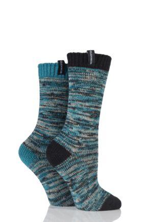 Ladies 2 Pair Glenmuir Space Dyed Contrast Heel and Toe Merino Wool Blend Boot Socks Black