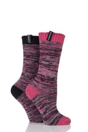 Ladies 2 Pair Glenmuir Space Dyed Contrast Heel and Toe Merino Wool Blend Boot Socks Pink