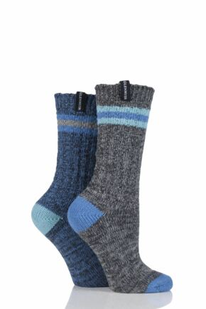 Ladies 2 Pair Glenmuir Marl and Striped Detail Boot Socks Charcoal 4-8 Ladies
