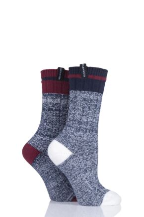 Ladies 2 Pair Glenmuir Plain Textured Boot Socks