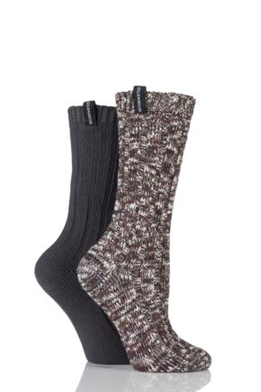 Ladies 2 Pair Glenmuir Marl Twist and Plain Cotton Blend Boot Socks Charcoal Mix 4-8