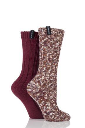 Ladies 2 Pair Glenmuir Marl Twist and Plain Cotton Blend Boot Socks