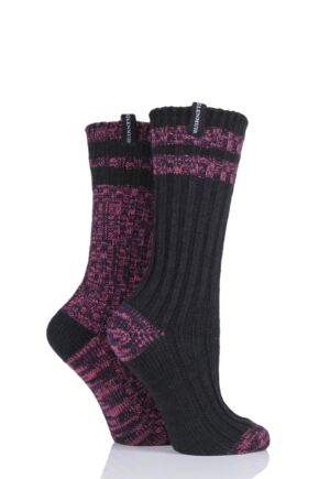 Ladies 2 Pair Glenmuir Multi Textured Boot Socks